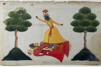 Krishna overcomes a king and his attendant in a forest