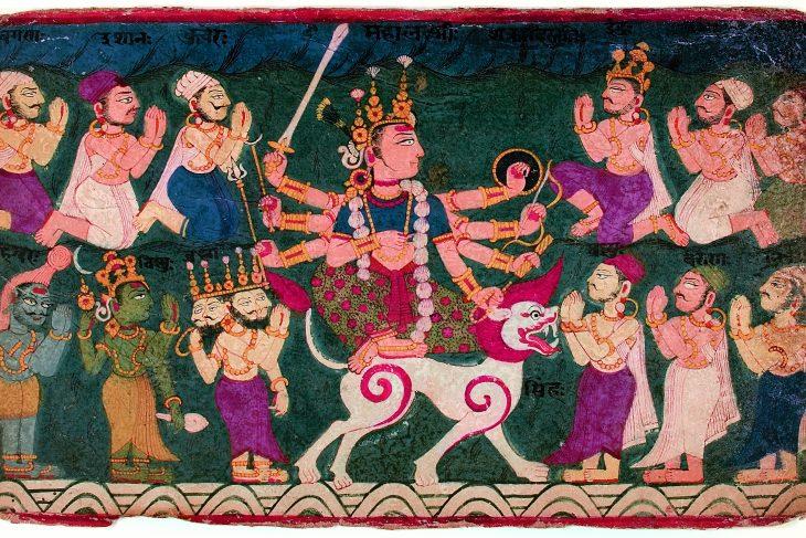Mahalakshmi riding her lion
