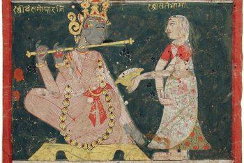Sri Bansgopalji fluting for Sri Satebhama, who offers him a conch