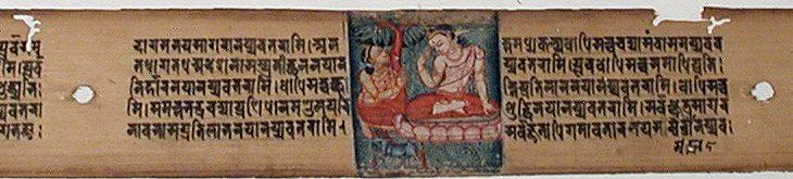 Sudhana kneeling before a Bodhisattva