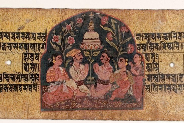 Worship of a stupa