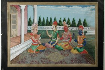 Yudhishthira receives Arjun and two others on a terrace