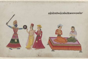 King Kamsa, Vasudeva and Devaki and two other figures