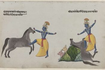 Krishna fights with horse demon Keshi