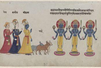Krishna with Baladeva in front of three gods Gopis