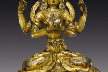 A COPPER ALLOY FIGURE OF PRAJNAPARAMITA