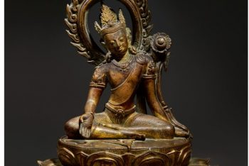 A GILT COPPER FIGURE OF AVALOKITESHVARA