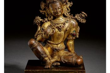 A GILT COPPER FIGURE OF INDRA