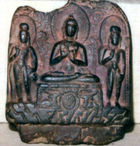 Buddha Preaching the First Sermon Attended by Maitreya and Padmapani